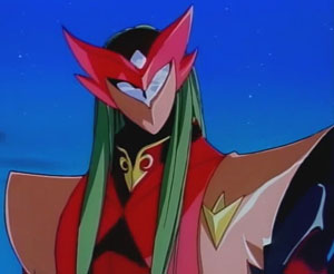 Aki in tekkaman form. With clothes over her armor and hair streaming out of her helmut she looks very odd indeed.