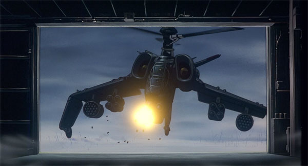 The rebel group sends and attack helicopter to destroy the machines of Special Vehicles Section 2.