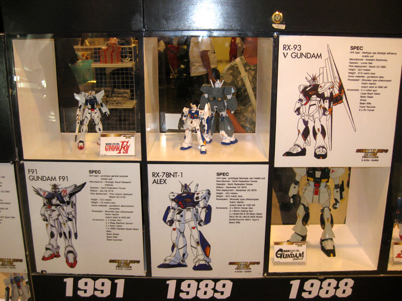 A nice exhibit near the entrance gave people an overview of the Gundam anime over the years.